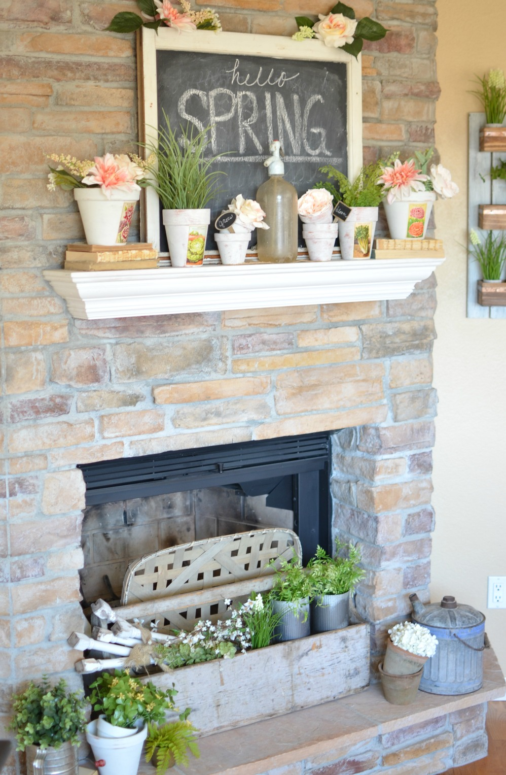 Spring Mantel Inspiration - Vintage Farmhouse Spring Mantel via Sarah Joy Blog | https://www.roseclearfield.com