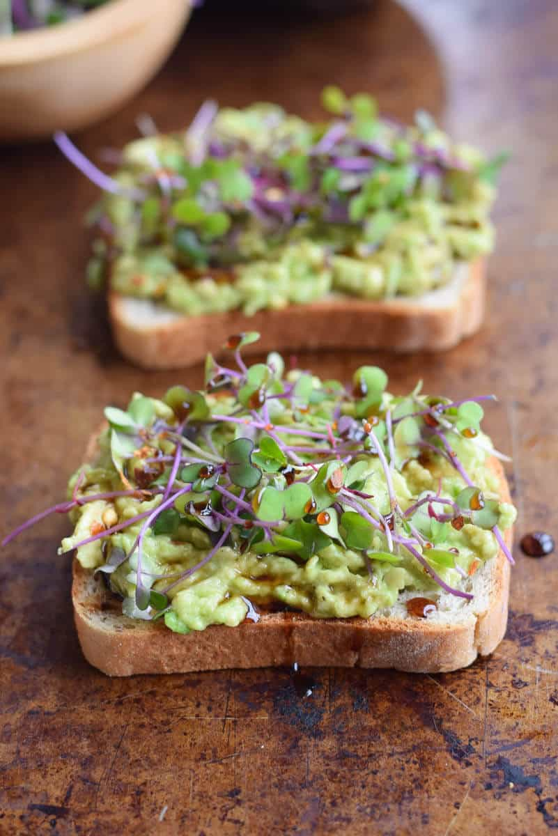 Avocado toast topped with microgreens. Delicious spring breakfast or lunch! via Seasonal Cravings #avocadotoast #healthyeating #healthybreakfast   https://www.roseclearfield.com