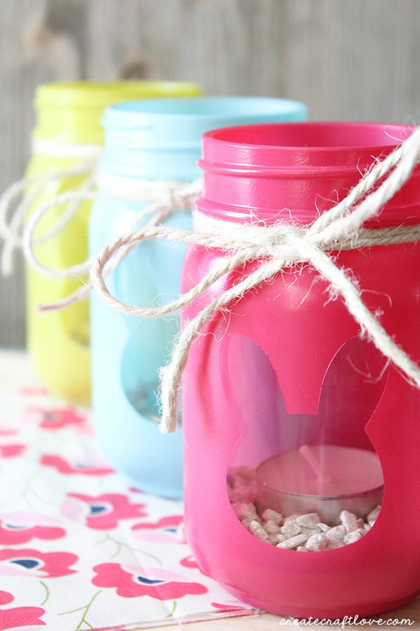Bunny luminary jars are a simple, fun Easter decoration project. via Create Craft Love #Easter #masonjars #luminaries | https://www.roseclearfield.com