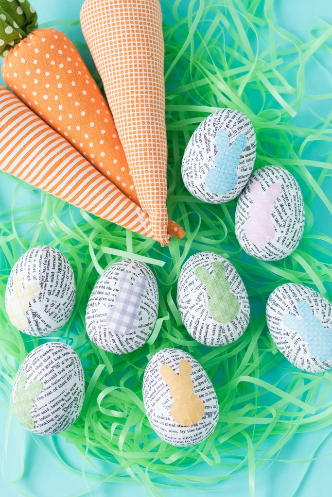 Learn how to make DIY book page plastic Easter eggs with upcycled book pages! A simple, easy, fun Easter decorating craft project. #Easter #upcycled #bookpages | https://www.roseclearfield.com