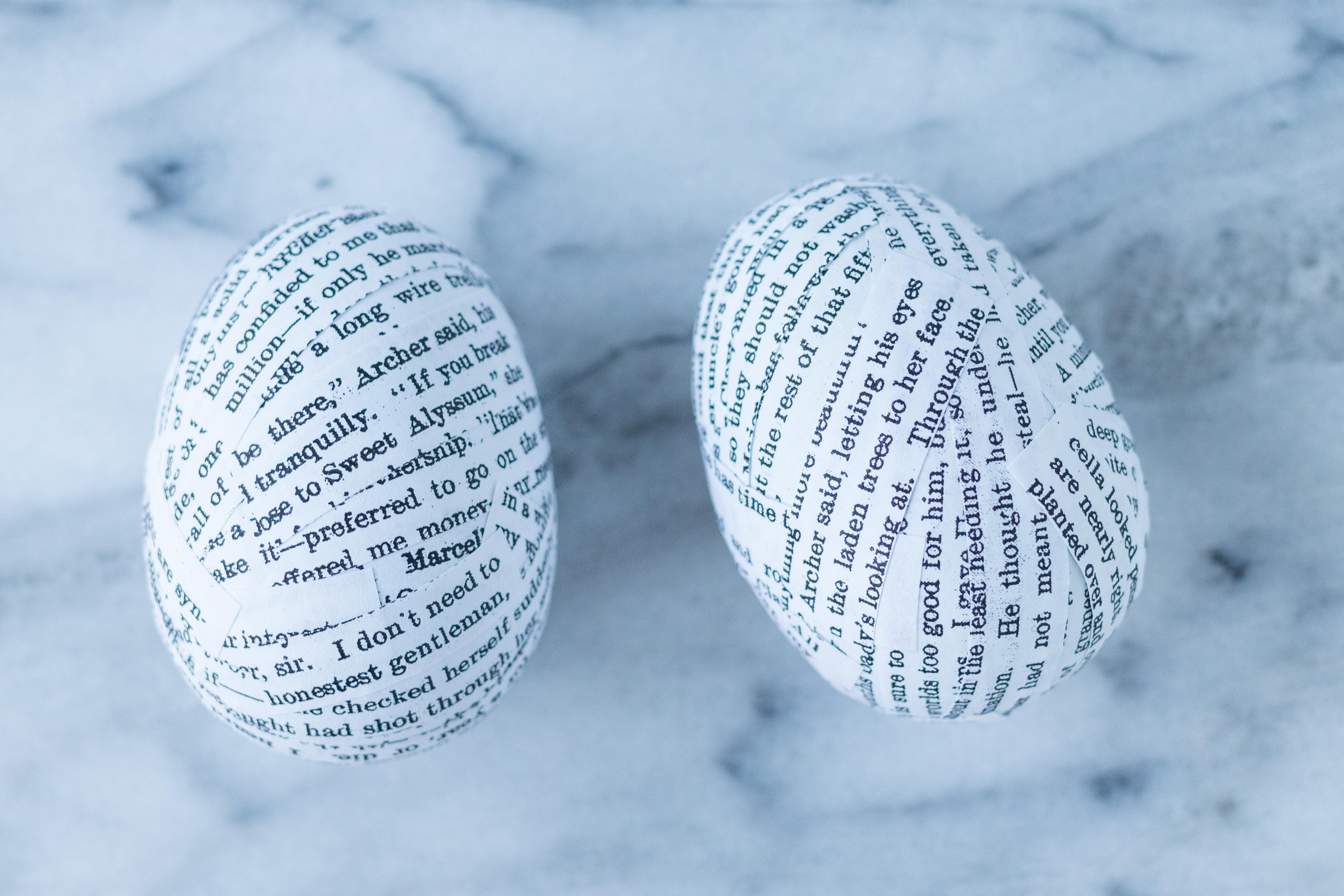 DIY Book Page Plastic Easter Eggs. A whimsical, upcycled Easter decorating idea that's fun for the whole family! #Easter #DIY #bookpagecrafts | https://www.roseclearfield.com
