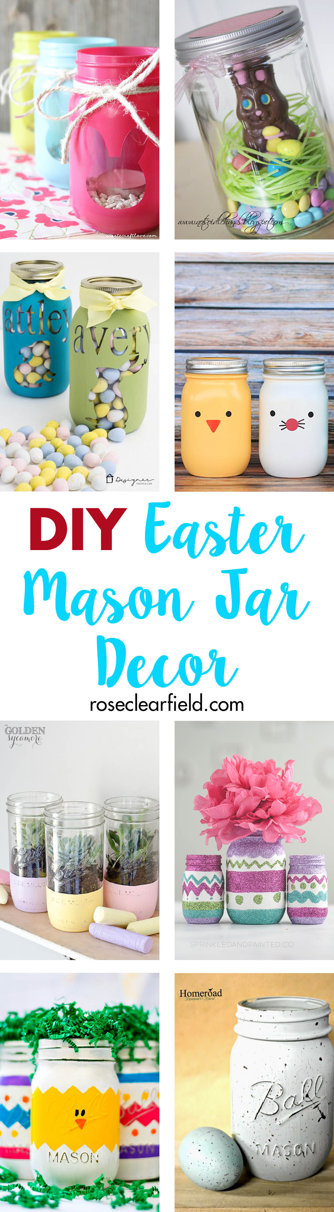 Create your own DIY Easter mason jar decor in minutes! This simple, whimsical holiday decor comes together in minutes. #Easter #DIY #masonjars   https://www.roseclearfield.com
