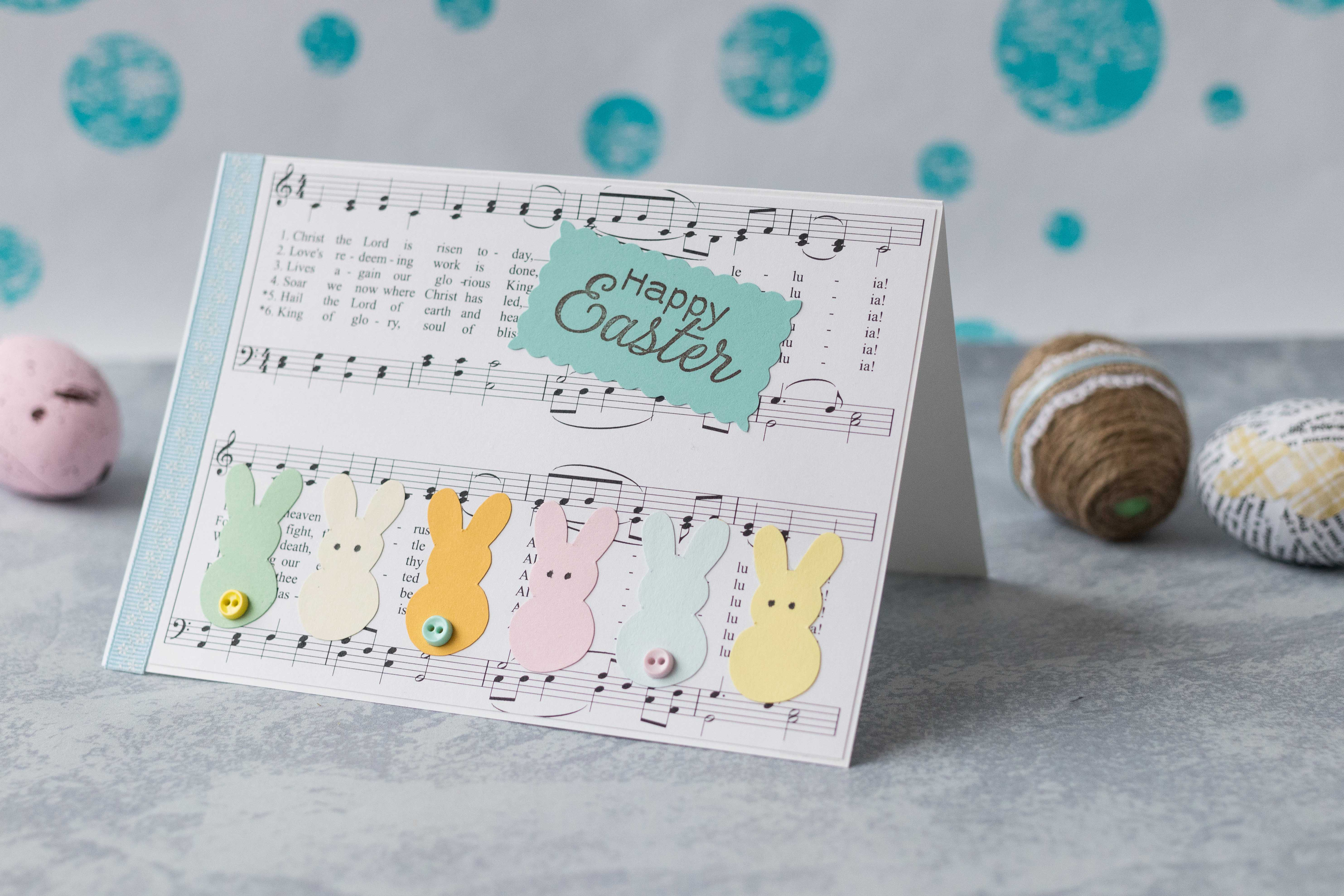 DIY Easter sheet music with pastel bunnies greeting card, size A7 | https://www.roseclearfield.com