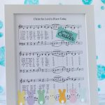 DIY Easter sheet music wall decor ready to display in an entryway, living room, or kitchen! | https://www.roseclearfield.com