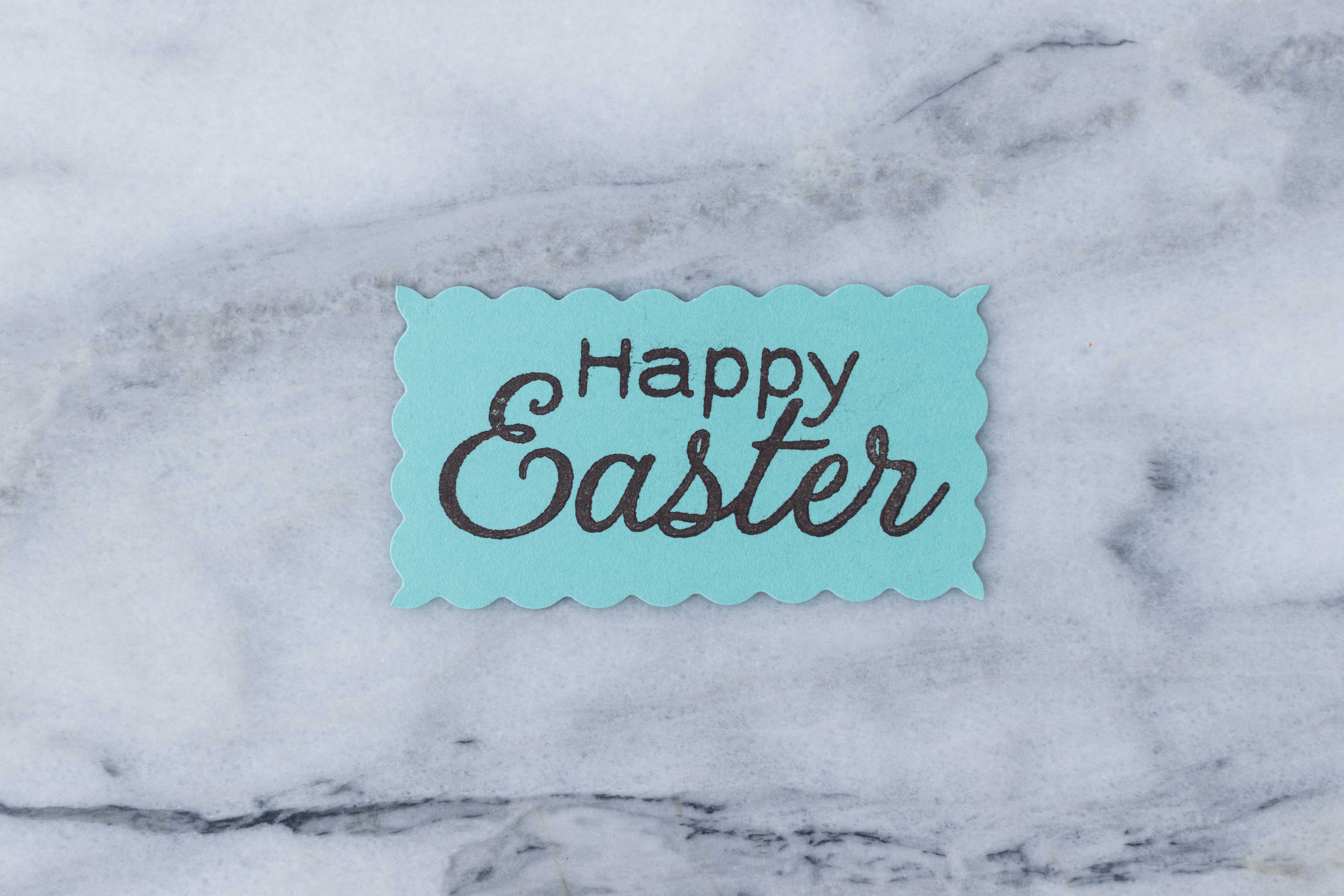 "I love this ""Happy Easter"" stamp from Hero Arts for DIY Easter craft projects. Scallop edges add a whimsical touch. 