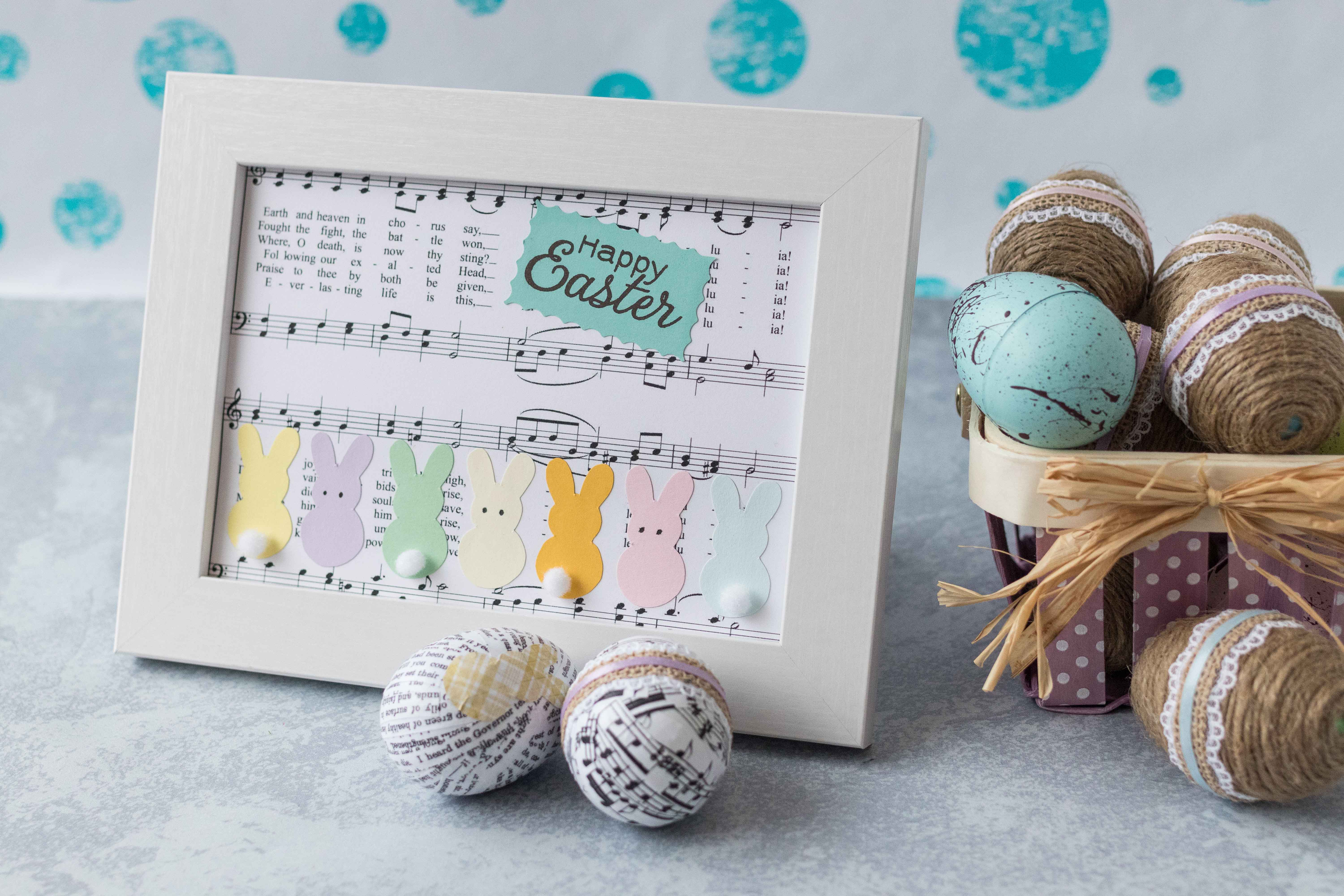 A 5x7 version of my DIY Easter sheet music wall decor. #Easter #DIY #sheetmusic | https://www.roseclearfield.com