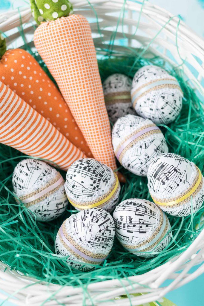 DIY Sheet Music Plastic Easter Eggs | https://www.roseclearfield.com