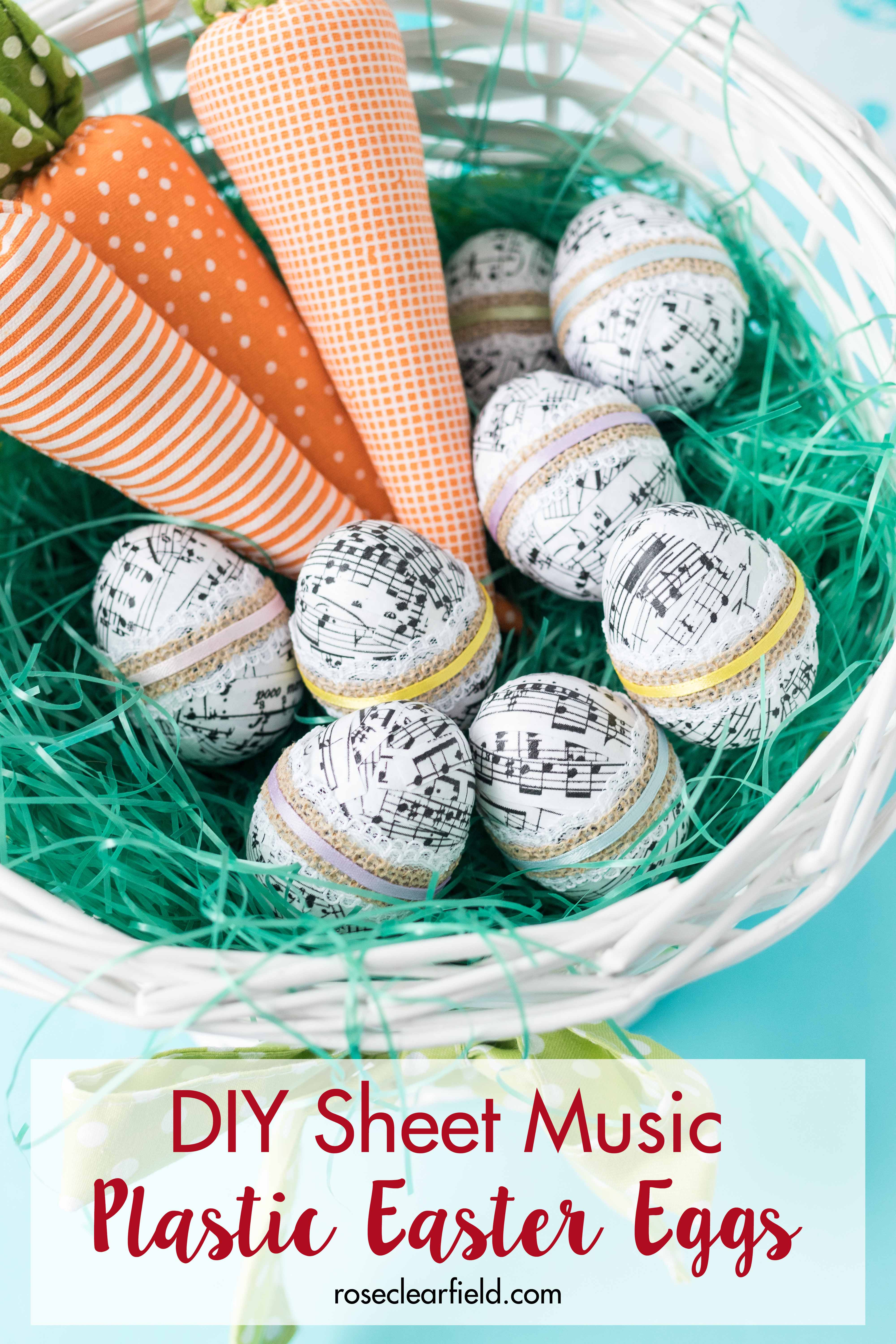 Learn how to make sheet music plastic Easter eggs! An easy DIY project for the whole family that makes a cute Easter decoration. | https://www.roseclearfield.com