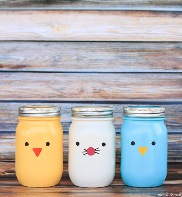 Easter chicks and bunny mason jars with vinyl face details. So simple and cute! via Number 2 Pencil | https://www.roseclearfield.com