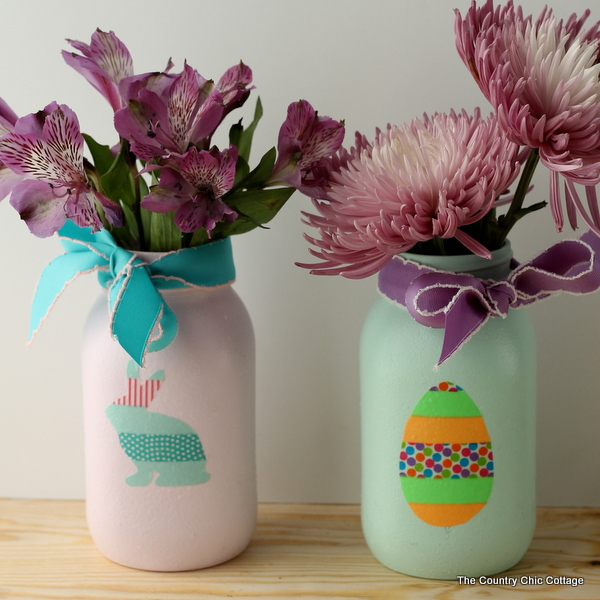 Washi tape decorated mason jars are a quick, fun Easter decor project! via The Country Chic Cottage | https://www.roseclearfield.com
