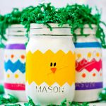Peeps mason jars for Easter are a colorful, whimsical home decor idea, via Mason Jar Crafts Love