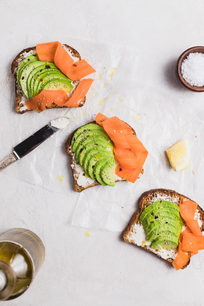 Avocado toast with goat cheese spread and carrot. Perfect flavors for spring! via Danilicious Dishes #avocadotoast #healthyeating #breakfastideas   https://www.roseclearfield.com
