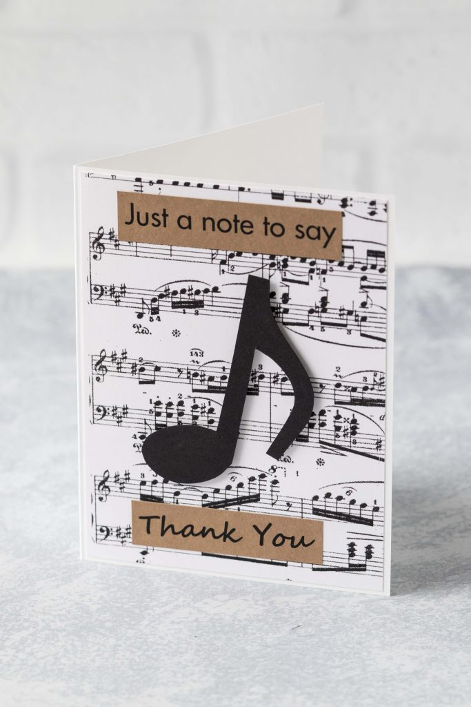 Just a note to say thank you DIY music note greeting card. #justanote #thankyoucard #musiccard | https://www.roseclearfield.com