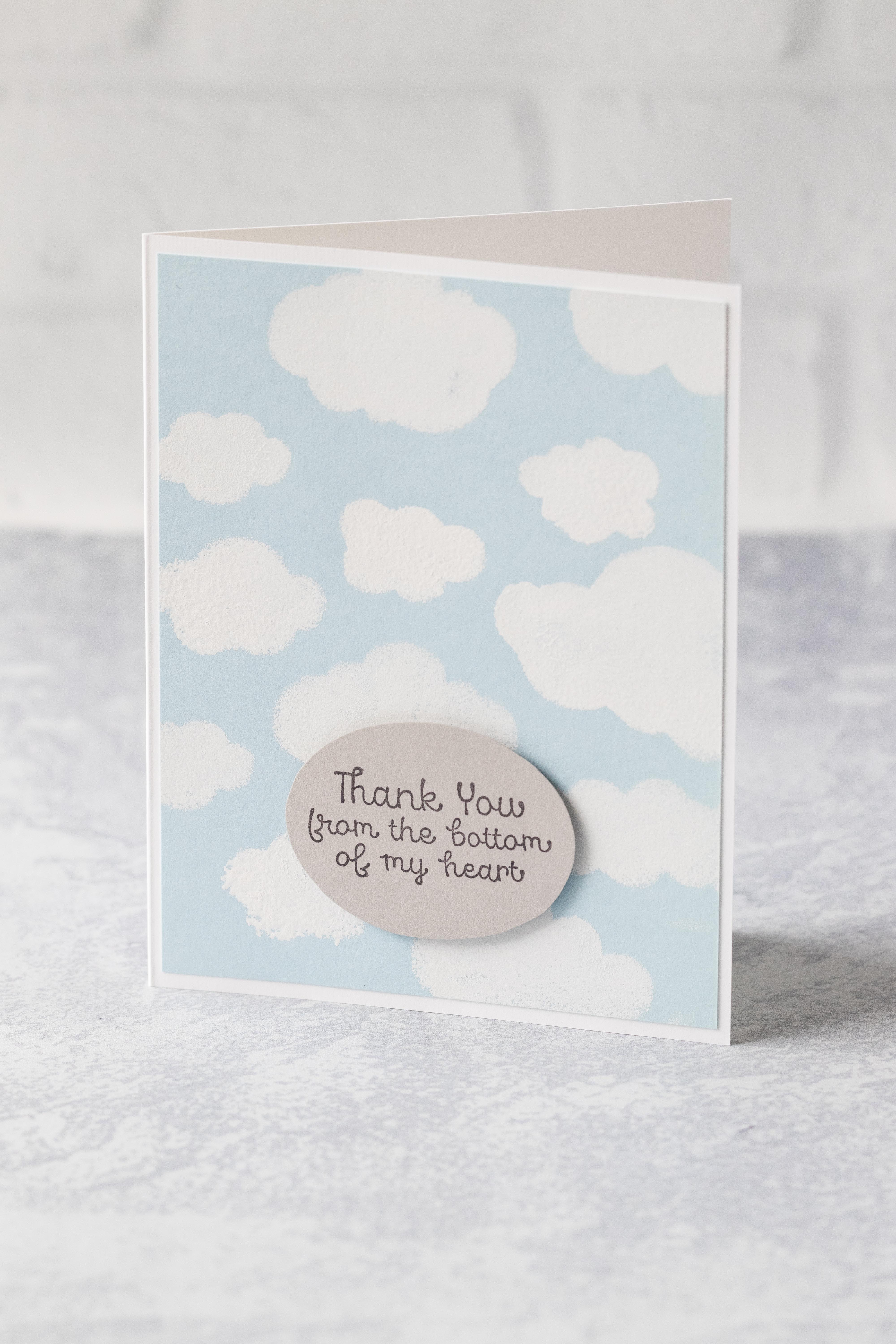 Clouds in a blue sky thank you card. #thankyoucard #greetingcard #clouds | https://www.roseclearfield.com