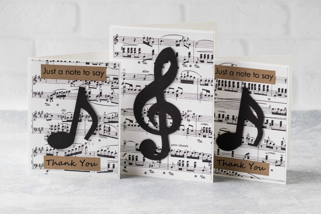 Music note greeting card set: two thank you cards and one plain treble clef card. #sheetmusic #musicnotes #greetingcards | https://www.roseclearfield.com