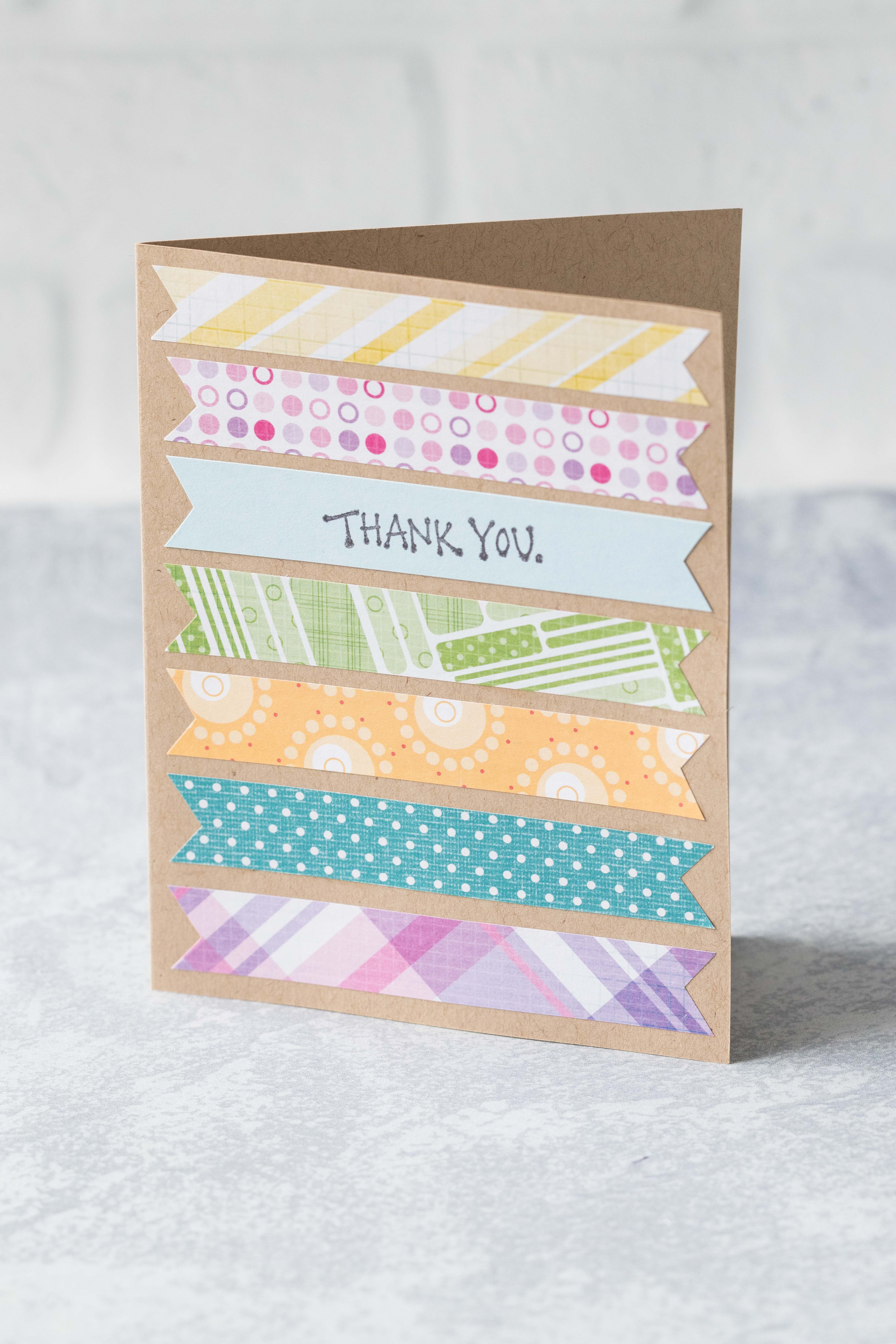 Scrappy thank you card. Perfect for using up paper scraps! #thankyoucard #greetingcard #paperscraps | https://www.roseclearfield.com