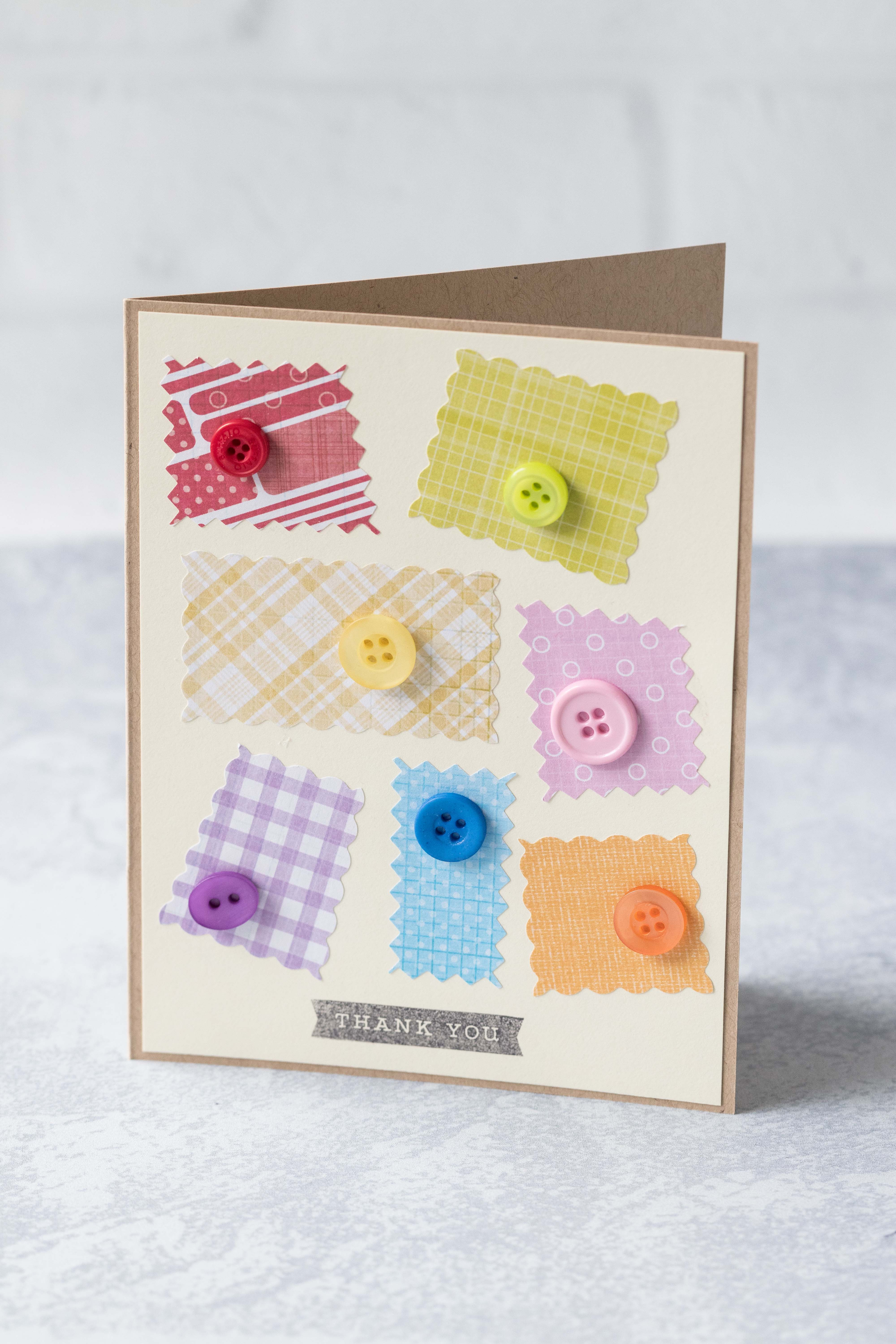 Scrappy rainbow thank you card with button detail. Perfect way to use up paper scraps! #thankyoucard #buttons #paperscraps #rainbow | https://www.roseclearfield.com