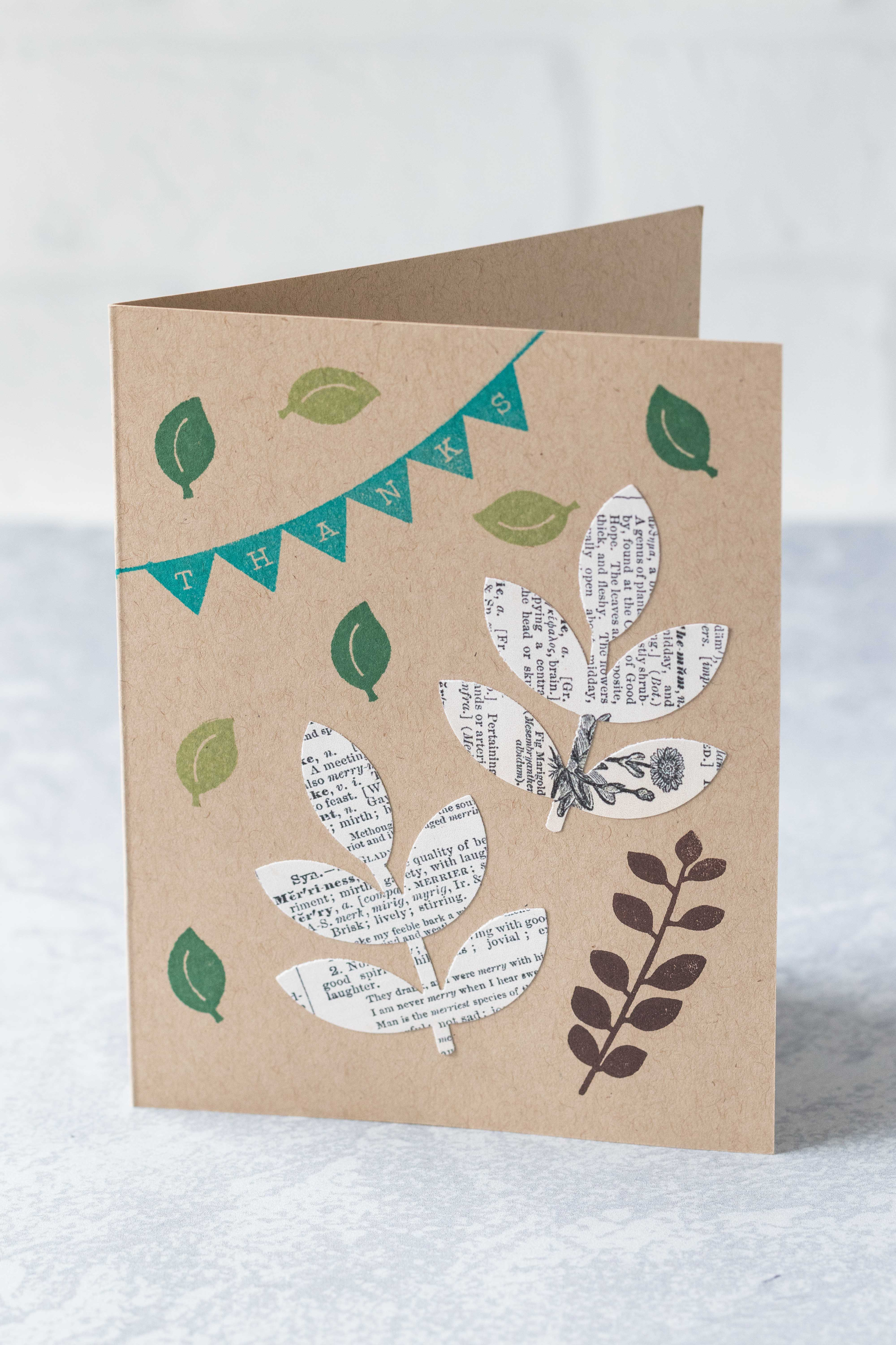 Leafy thank you card with punched vintage dictionary leaves and stamped leaves. #thankyoucard #greetingcard #stamps | https://www.roseclearfield.com