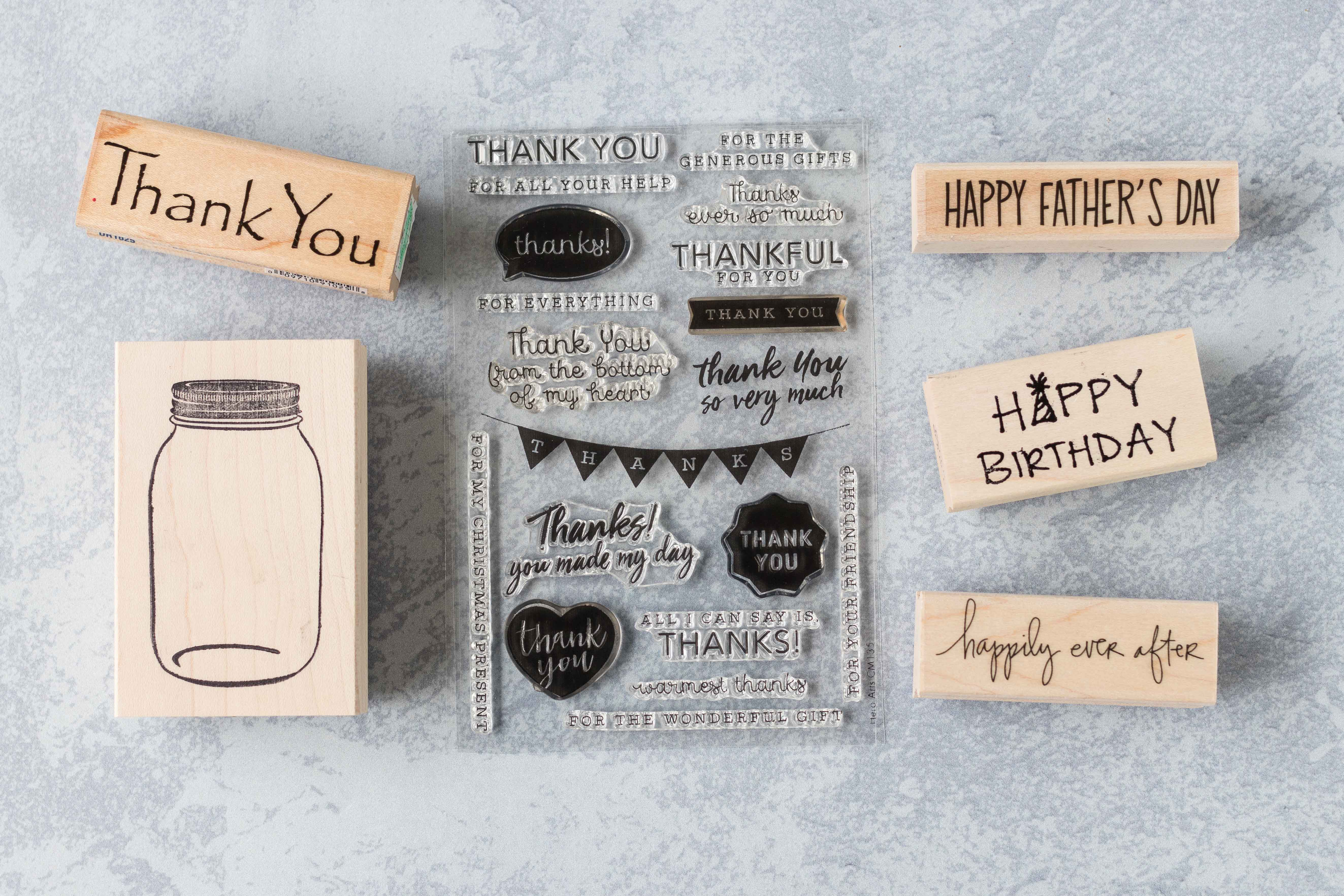 Having an assortment of wood-mounted and clear stamps for general purpose and special occasions is key for making your own greeting cards. #cardmaking #greetingcards #rubberstamps | https://www.roseclearfield.com