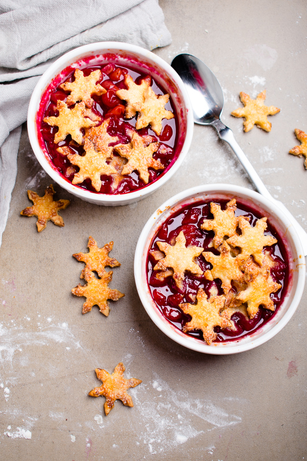 Cherry cobbler for two via Blue Bowl. Adorable and delicious! Perfect for Valentine's Day or a date night. #cherrycobbler #dessertfortwo #datenight | https://www.roseclearfield.com