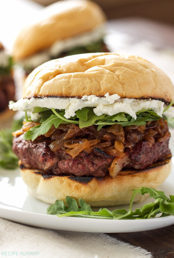 Bacon burgers with caramelized onions and goat cheese. The onions and goat cheese put the flavor in this burger over the top! via Recipe Runner #caramelizedonions #goatcheese #baconburgers | https://www.roseclearfield.com