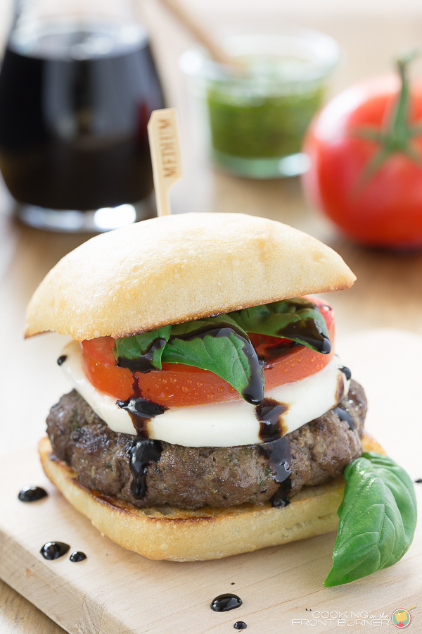 Caprese burger with balsamic glaze via Cooking on the Front Burners. Love the flavors of Caprese salad on a burger! #caprese #balsamic #burger   https://www.roseclearfield.com