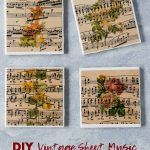 DIY vintage sheet music botanical tile coasters. Beautiful drink coasters or home decor! #DIY #sheetmusiccraft #vintagesheetmusic #botanicals | https://www.roseclearfield.com
