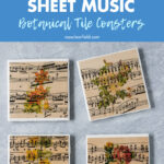 DIY Vintage Sheet Music Botanical Tile Coasters