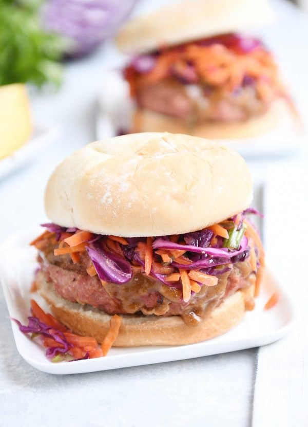 Easy Thai burgers with peanut sauce. Delicious Thai flavors in a burger, perfect for summer! via Mel's Kitchen Cafe #Thaifood #burgers #peanutsauce | https://www.roseclearfield.com