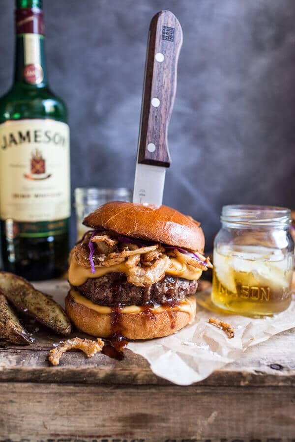 Jameson whiskey blue cheese burger with Guiness cheese sauce and crispy onions. Dead over this flavor combination! via Half Baked Harvest #burger #Jamesonwhiskey #bluecheese | https://www.roseclearfield.com