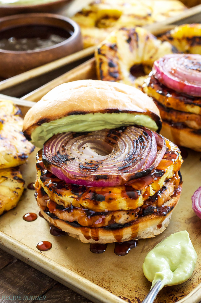 Teriyaki turkey burgers with grilled pineapple and onions. Love this flavor combination! via Recipe Runner #turkeyburgers #grilledpineapple #burgerrecipes | https://www.roseclearfield.com