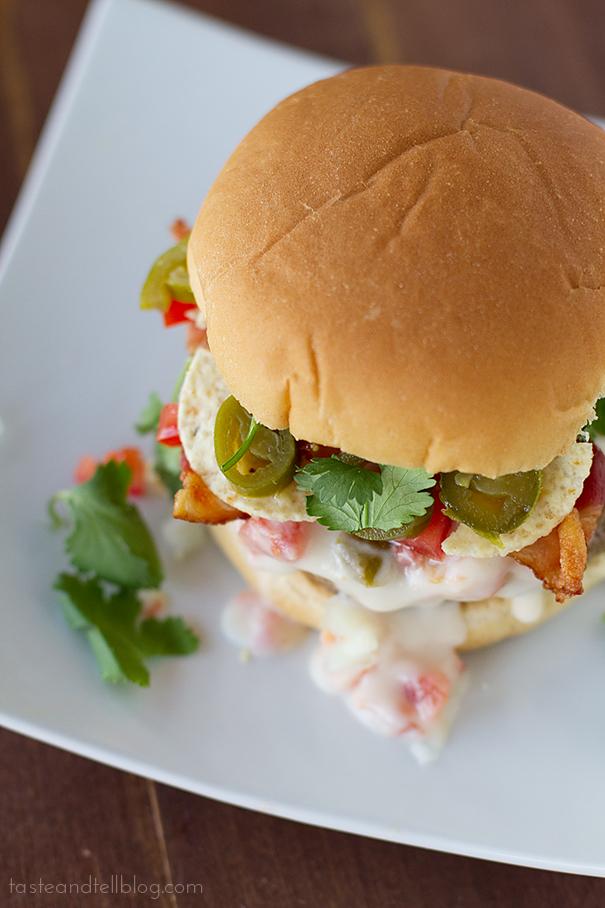 Tex Mex Bacon Burgers via Taste and Tell. All the Tex Mex flavor you love in a mouth-watering burger! #TexMex #baconburger #burgerrecipe   https://www.roseclearfield.com