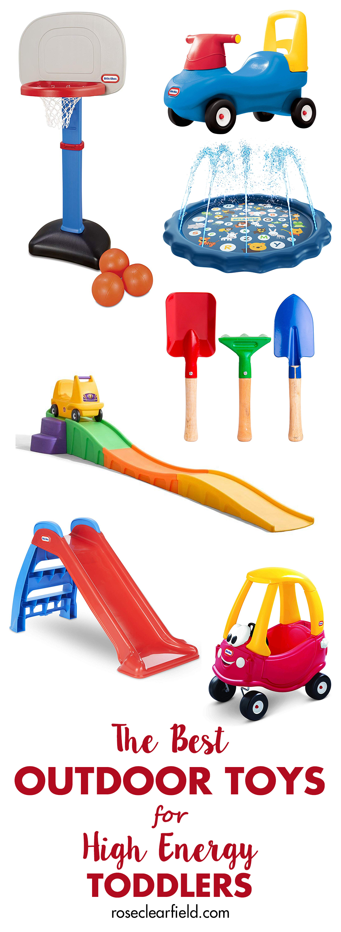 A roundup of the best outdoor toys for high energy toddlers. Help your little ones develop their gross motor skills and channel their energy in a positive manner! #outdoortoys #toddlertoys #highenergytoddlers #bestoutdoortoys | https://www.roseclearfield.com