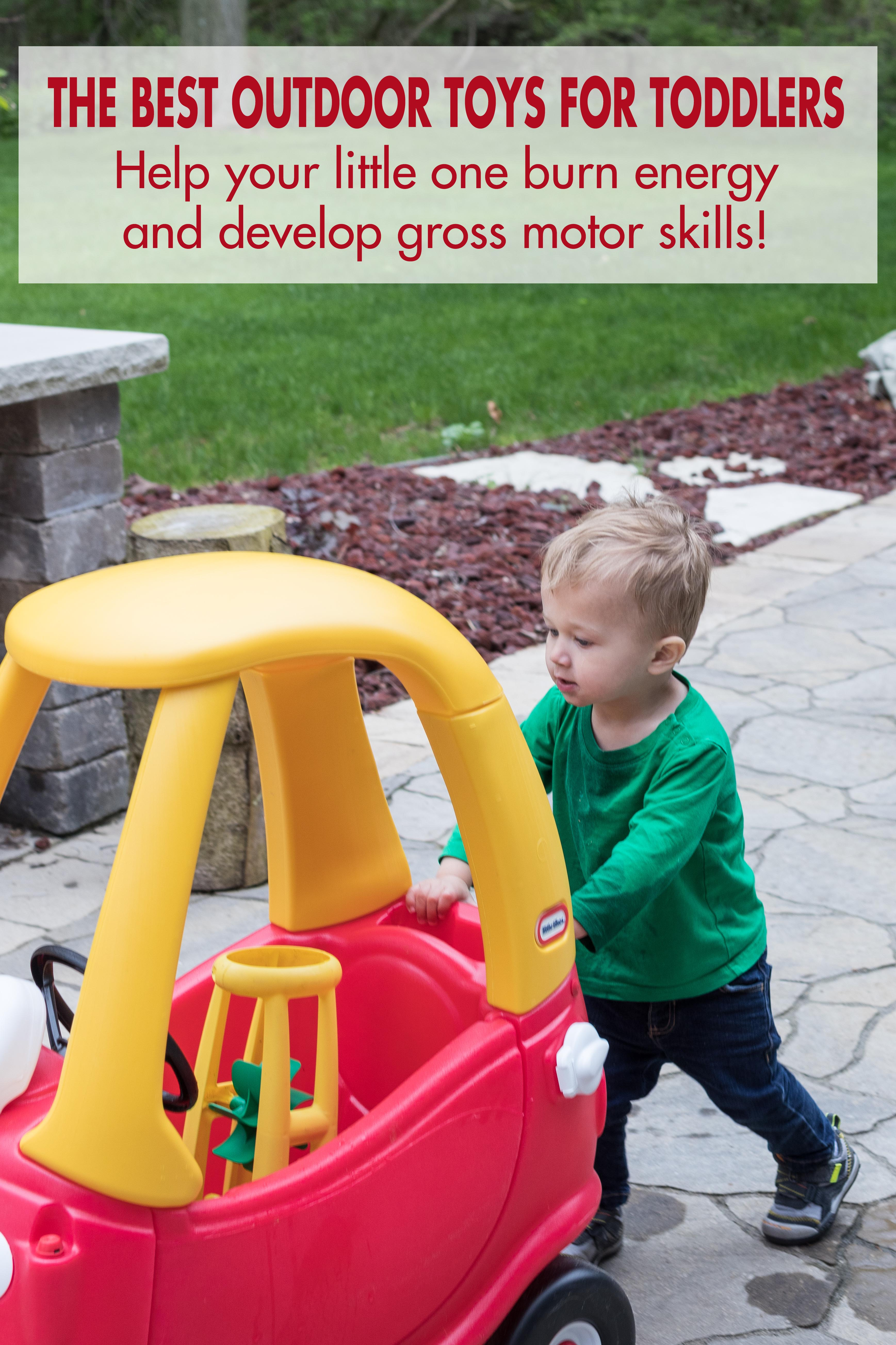 The best outdoor toys for toddlers. Active toys help high energy two- and three-year-olds burn energy and develop gross motor skills! #besttoddlertoys #bestoutdoortoys #toysfortoddlers #activetoddlers | https://www.roseclearfield.com