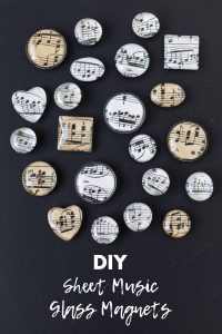 DIY sheet music glass magnets. Easy home decor project to give as gifts or party favors or sell on Etsy or at craft fairs! #DIY #sheetmusic #glassmagnets | https://www.roseclearfield.com
