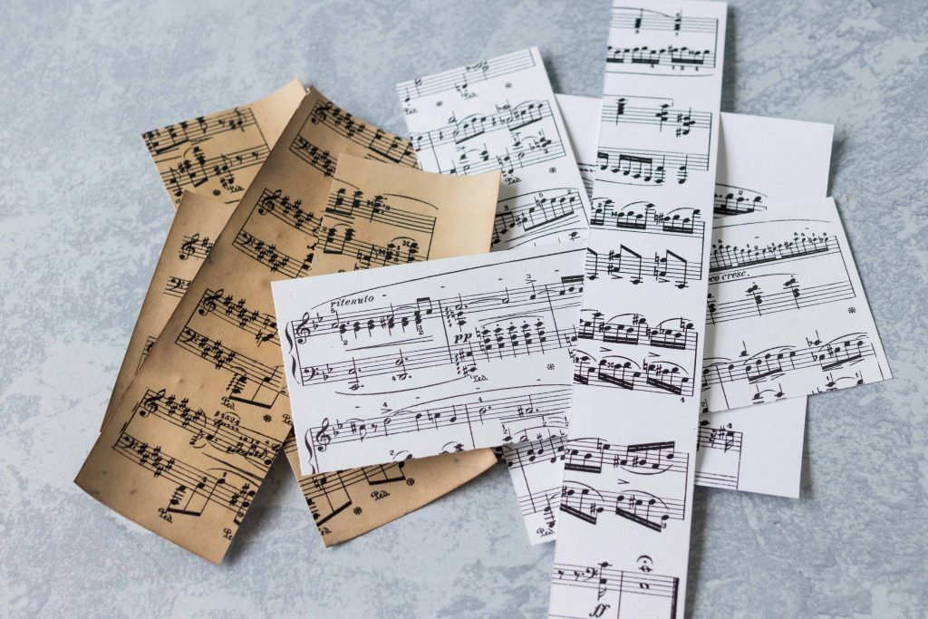 Sheet music scraps, perfect for smaller DIY projects, such as magnets. #sheetmusic #DIY #crafttutorial