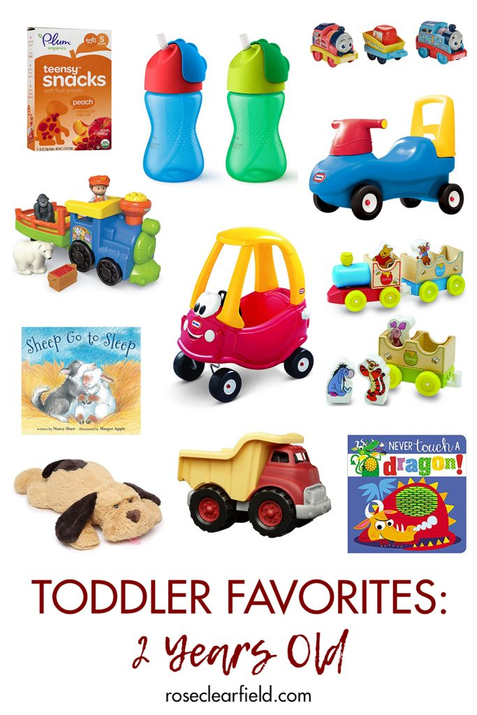 Toddler Favorites: 2 Years Old. Recommendations for toys, books, straw cups, and more! #toddlerfavorites #toddlergear #2yearsold #toddlerrecommendations | https://www.roseclearfield.com