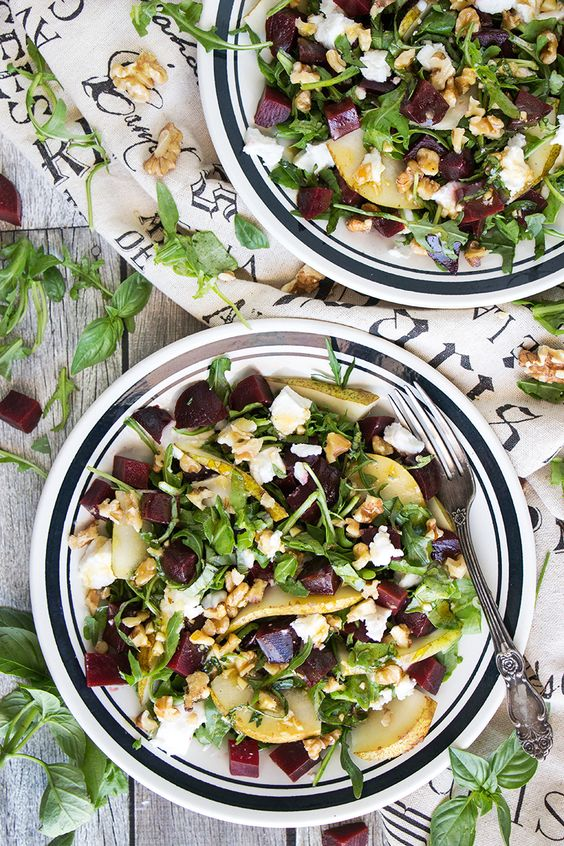Cold Beet Salad with Goat Cheese, Arugula, and Pear Yummy Addiction