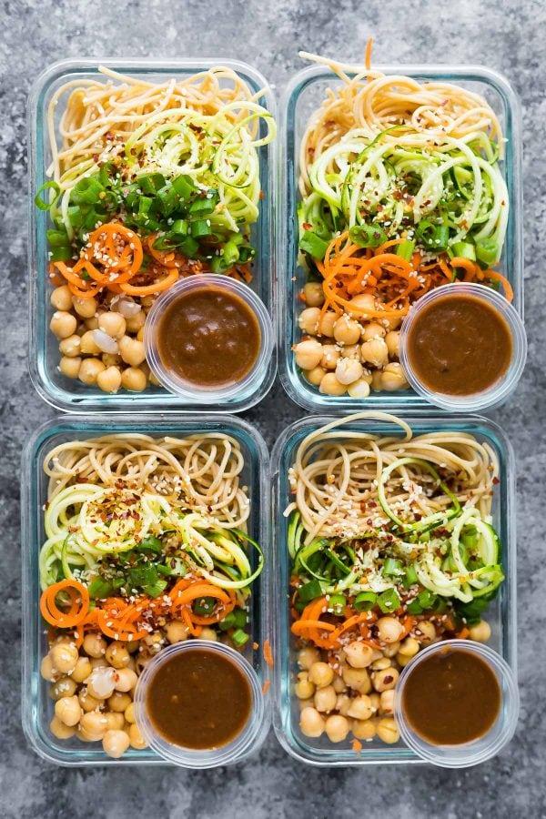Cold Sesame Noodle Bowls Sweet Peas and Saffron