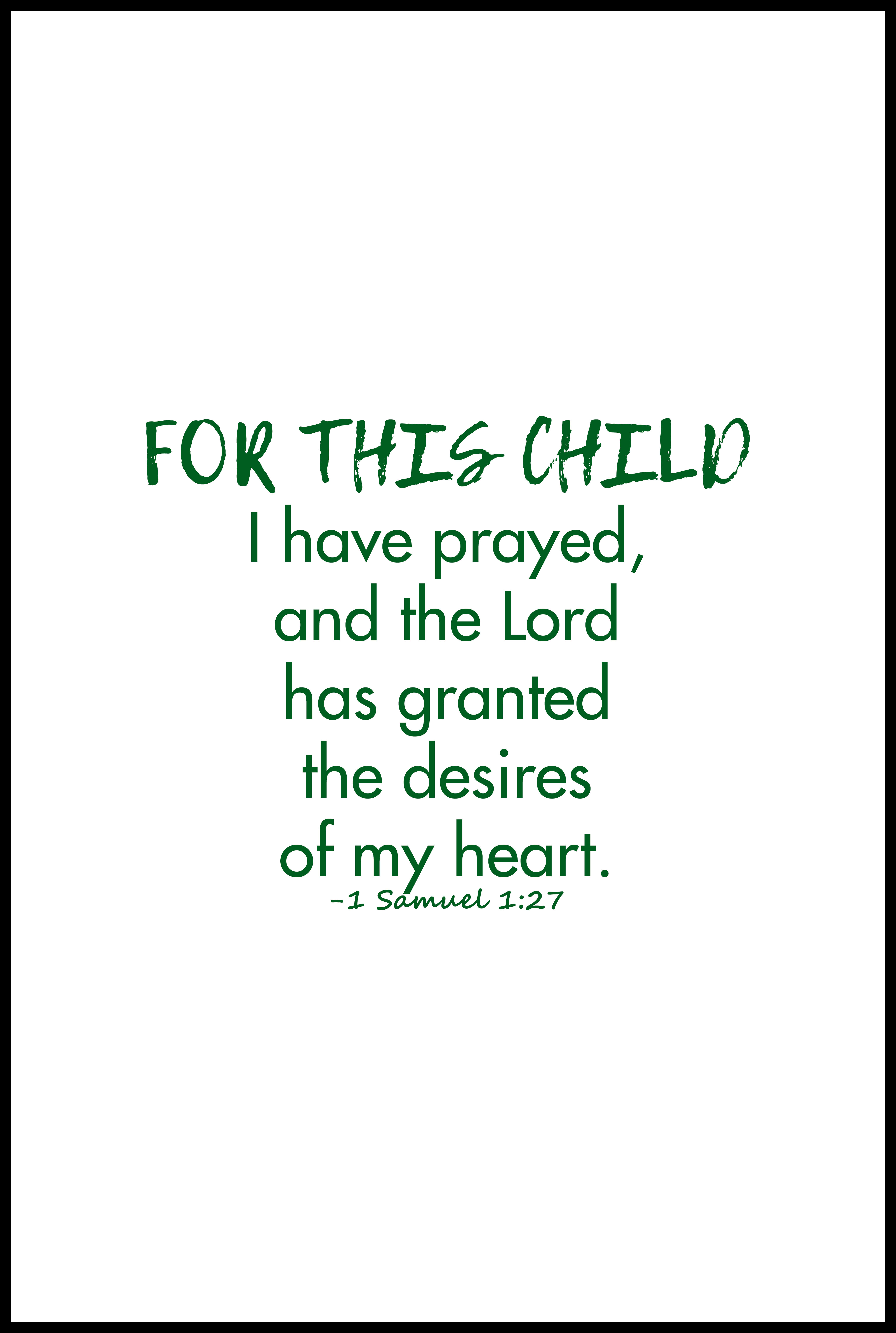 For This Child 1 Samuel 1:27