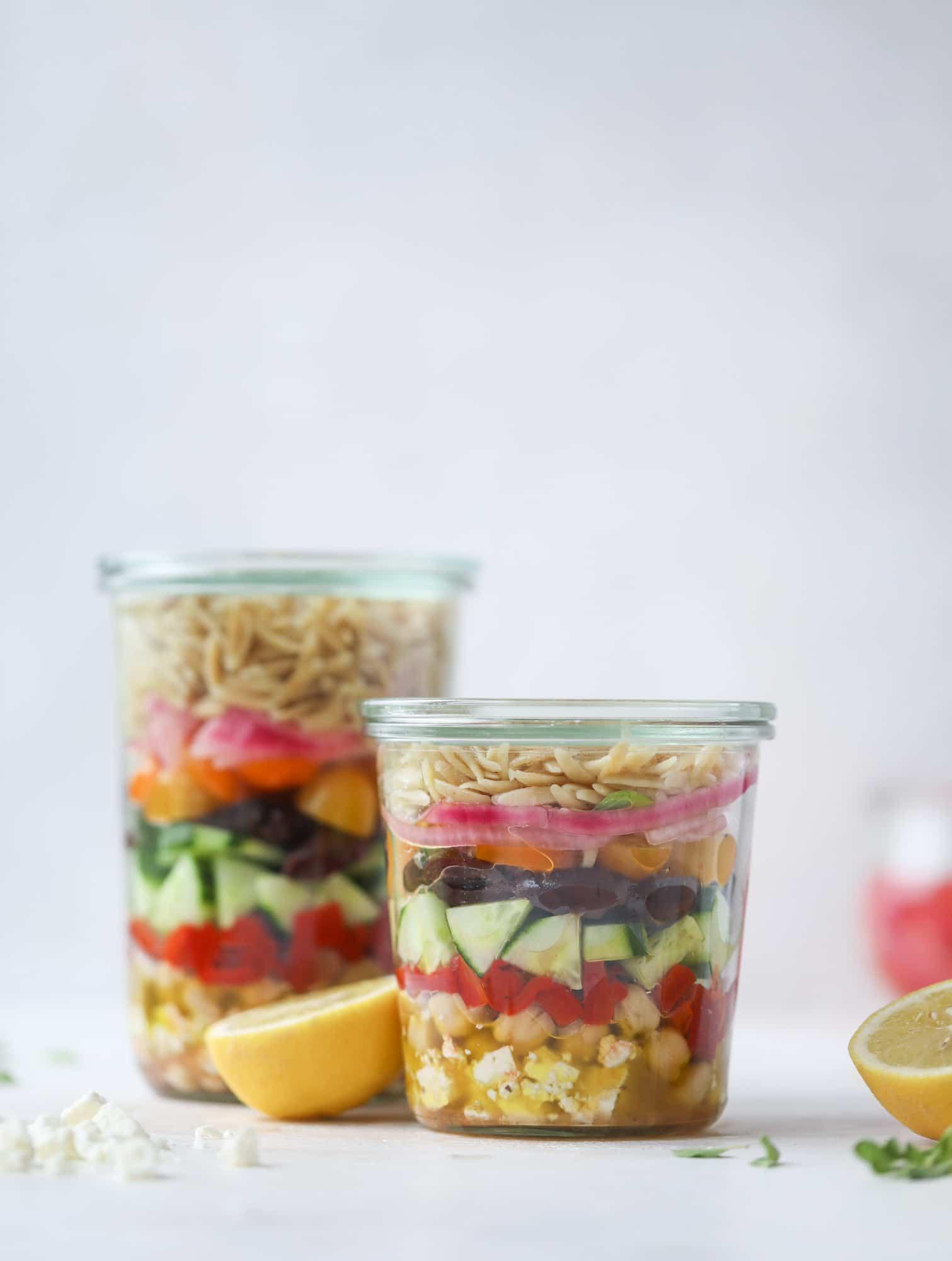 Greek Orzo Salad in a Jar How Sweet Eats