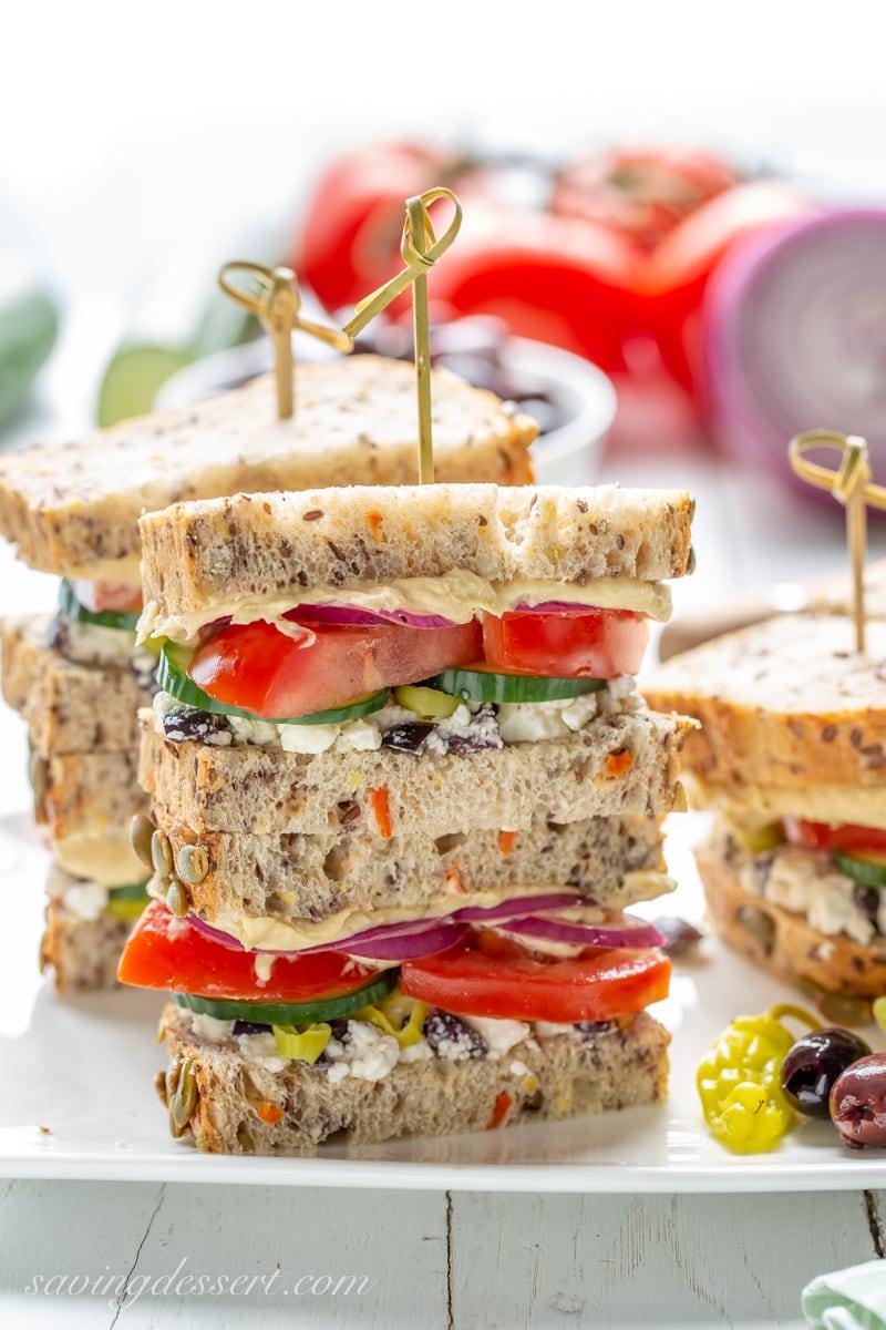 Greek Salad Hummus Sandwich Saving Room for Dessert