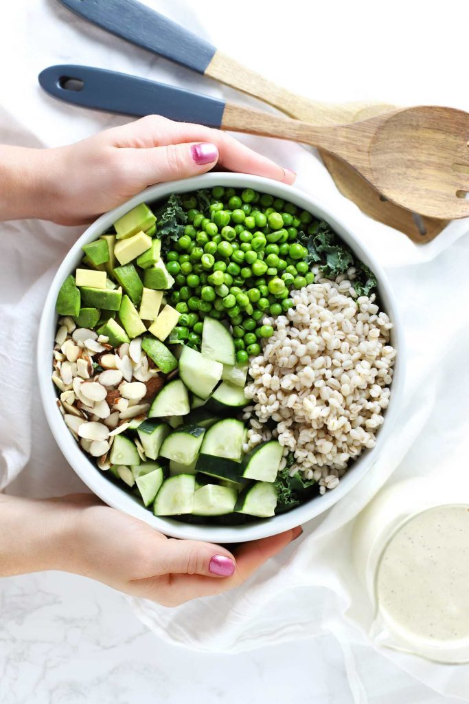 Green Grain Summer Salad with Lemon Cashew Garlic Sauce Zested Lemon