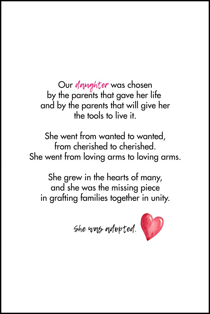 Our Daughter Was Chosen Adoption Quote