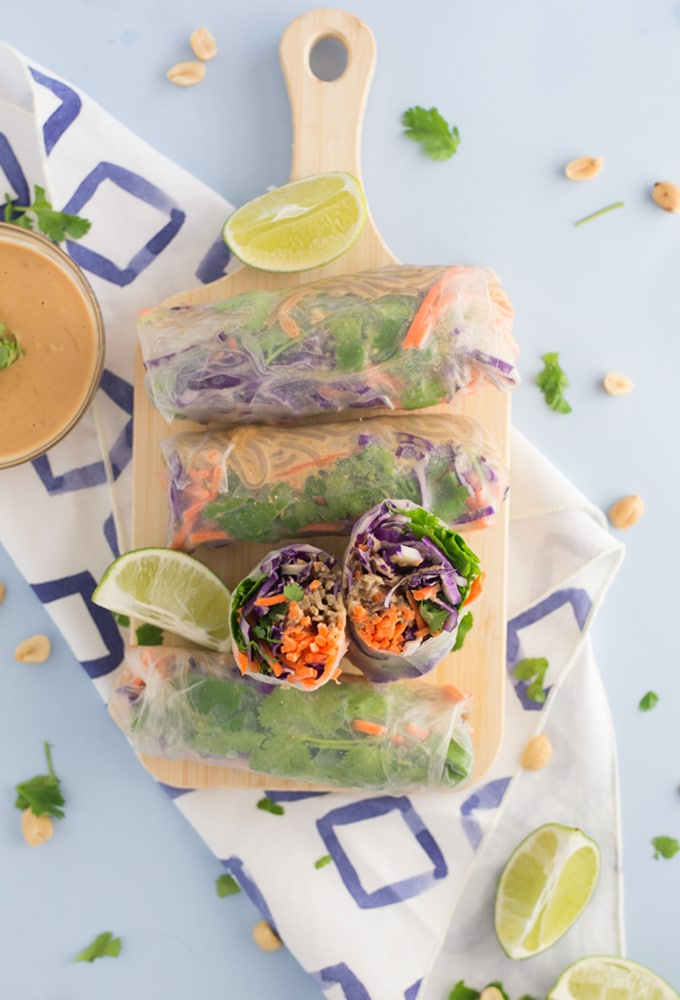 Peanut Noodle Vegetable Spring Rolls Mindful Avocado