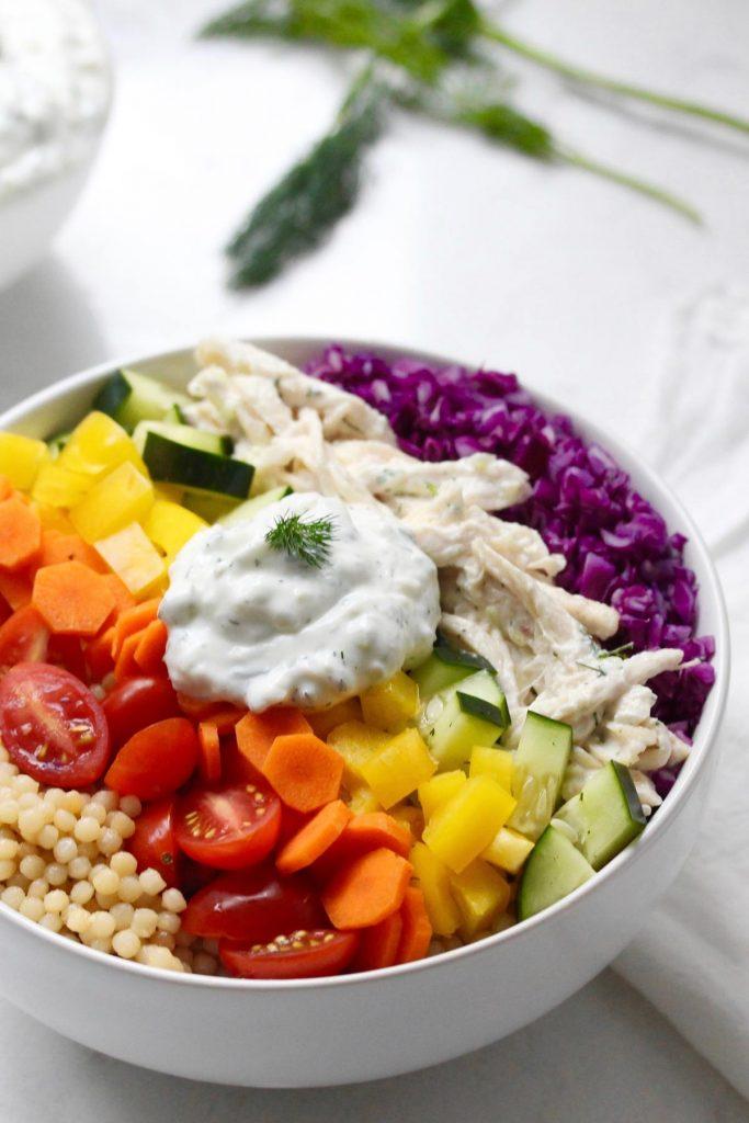 Rainbow Grain Bowl and Tzatziki Chicken Zested Lemon