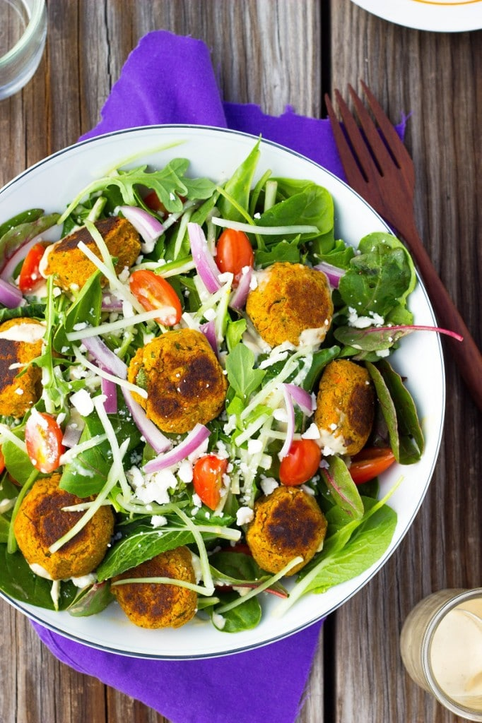 Roasted Carrot Falafel Salad with Citrus Tahini Dressing She Likes Food