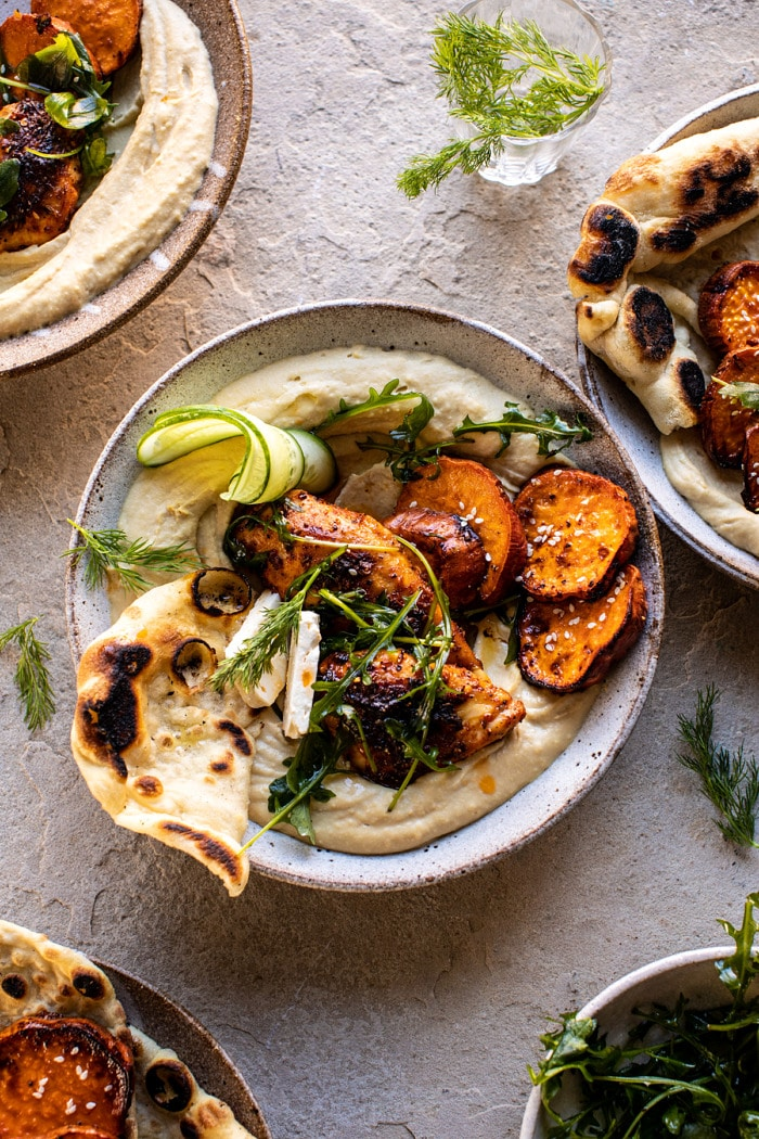 Sheet Pan Chicken Shawarma with Sesame Sweet Potatoes and Hummus Half Baked Harvest