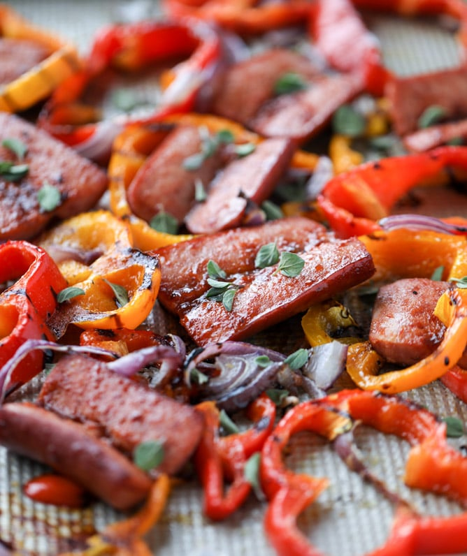 Sheet Pan Smoked Sausage and Peppers How Sweet Eats