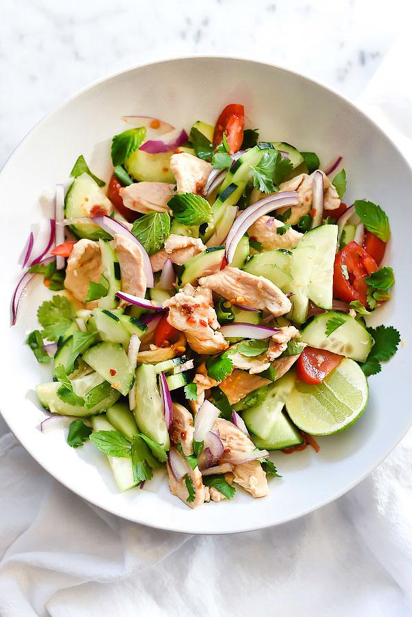 Thai Chicken and Cucumber Salad Foodiecrush